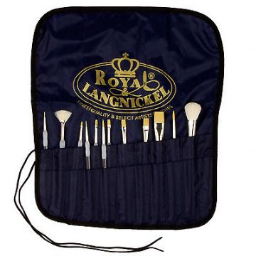 12 Royal SOFT GRIP Brushes VALUE PACK Includes FREE CANVAS BRUSH CARRIER